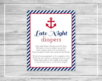 Nautical Baby Shower Late Night Diapers Sign - Printable Baby Shower Late Night Diapers - Navy Red Baby Shower - Late Night Diapers - SP118