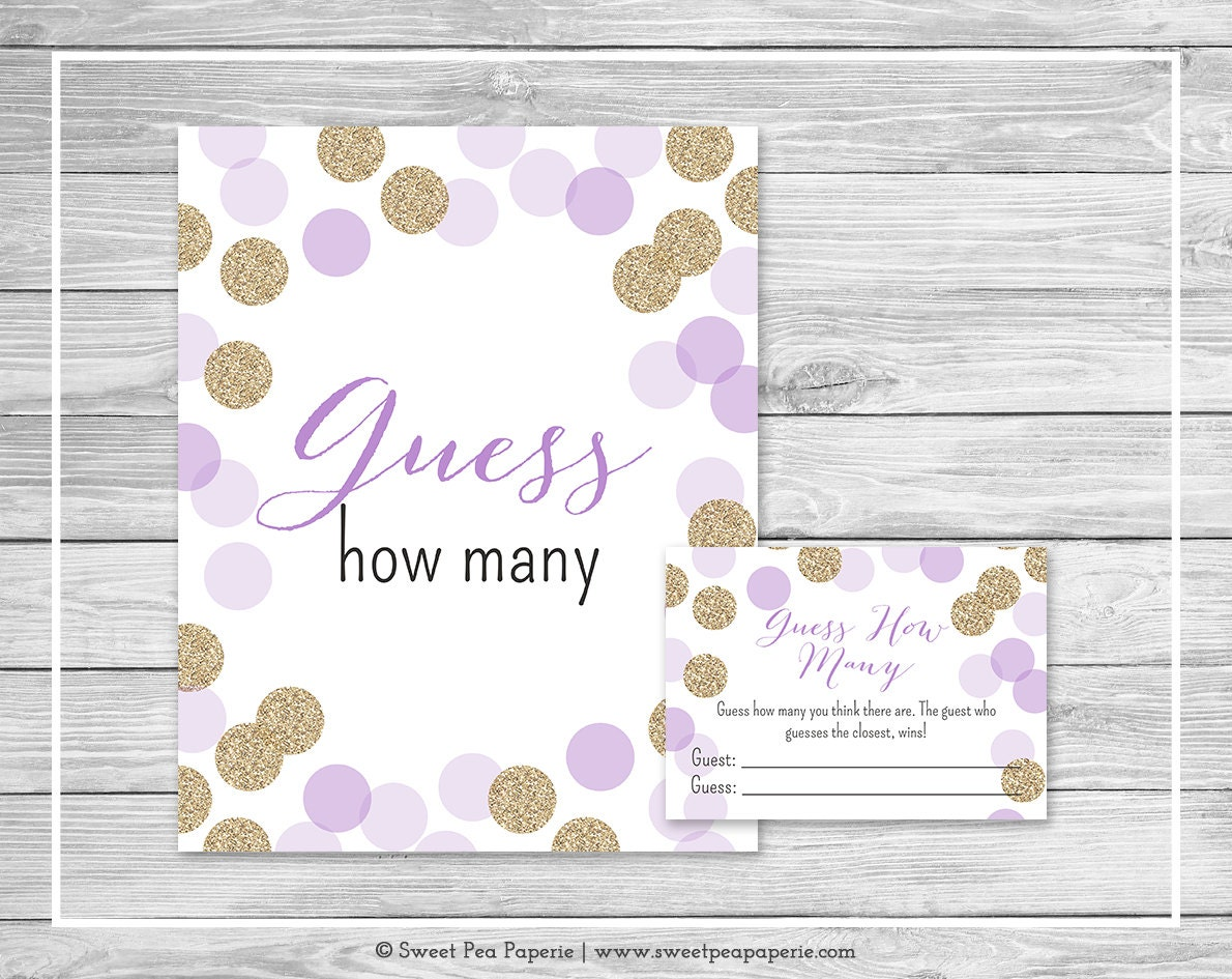 purple and gold baby shower guess how many game printable