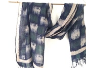 Handmade Hand Painted Hand dyed Hand printed Linen Scarf