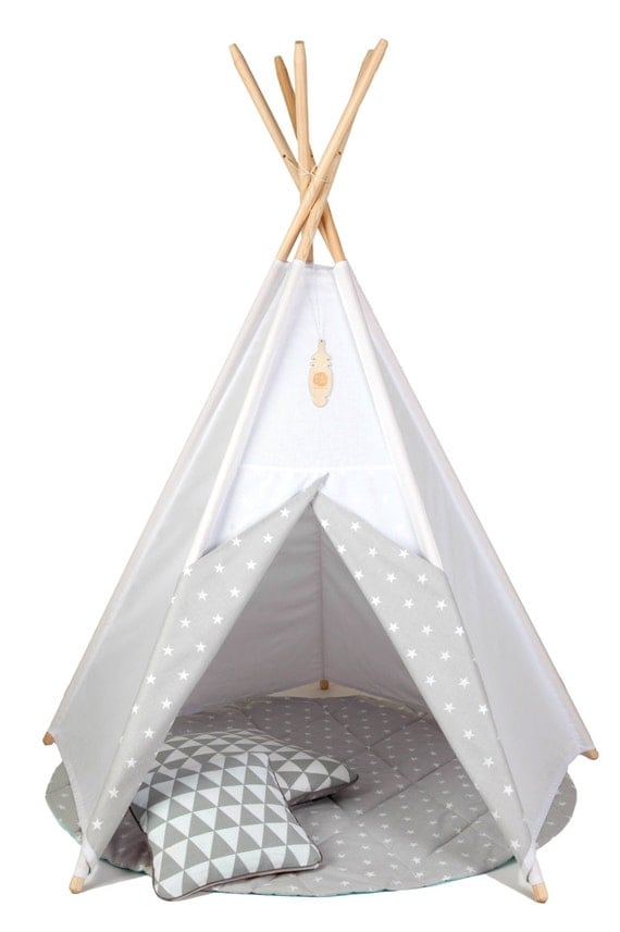 SALE Teepee set: teepee with 5 poles rounded by TeepeeLittleNOMAD