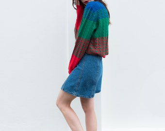 the Glitch in RGB -knitted sweater (multi coloured cable knit plait pullover)