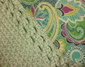 Teal Paisley Crocheted/Flannel Stroller Blanket