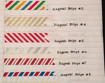 Washi Tape Samples: Diagonal Stripe