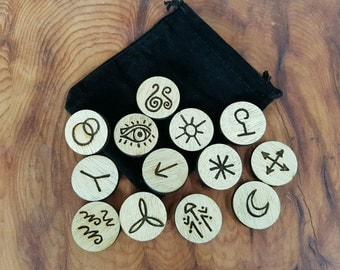 13 Witches Runes, Divination, Hand Drawn, Witch Crafted and Engraved on Wood.