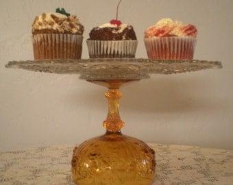 Gold Wedding/Baby Shower/Golden Anniversary Cake Plate/Cupcake Stand Dessert Pedestal. 13 Inch