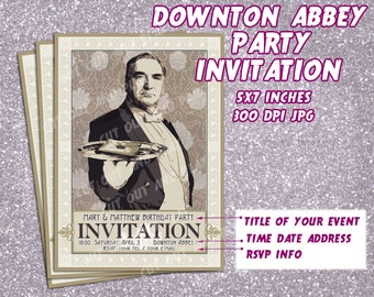 Downton Abbey party Invitation, printable Invitation card - Mr Carson, victorian, vintage party, tea party, birthday, personalised, favors