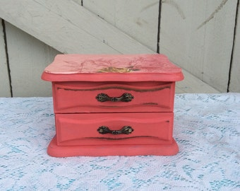 Funky Shabby Chic Jewelry Box With A Lovely Decoupaged Top