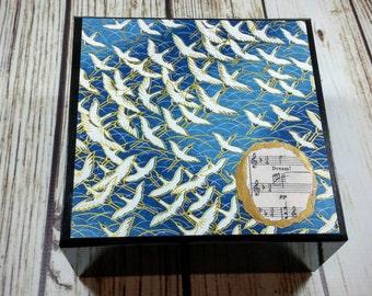 Birds, Ocean & Music Keepsake Treasure Memory Box