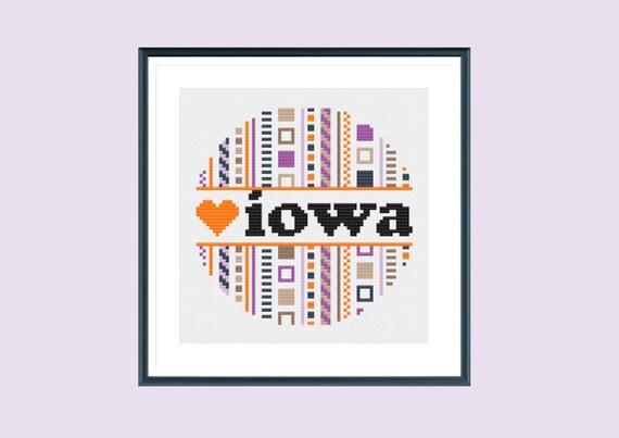 Iowa cross stitch pattern counted instant