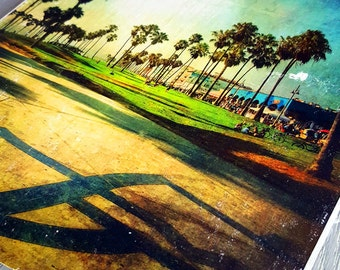 California Art, Venice Beach Art,  Wall Decor,  Photo Transfer to Wood, Beach Photography, Palm Trees, Blue Yellow Green
