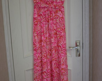 sloane style maxi dress made with authentic lilly pulitzer fabric Pink Pout Mango Salsa Size SML