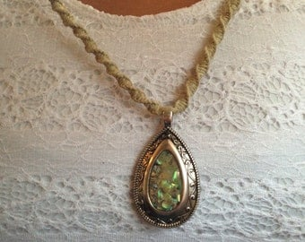 Handmade hemp necklace with abalone shell pendant teardrop