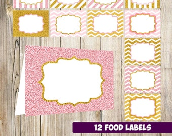 80% OFF SALE Pink and Gold Food Tent Labels, Gold Glitter Buffet Labels, Table tents, Baby shower Decorations, Candy Labels, Party printable