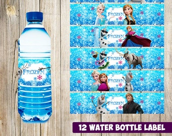 12 Frozen Water Bottle Label instant download, Printable Frozen Water Bottle Label, Frozen Water Label