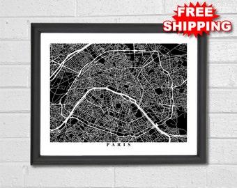 Paris Map Art - Black and White Map Print - France - Map Gift - City Map Art - Housewarming Gift - Travel - Anniversary - Home Decor