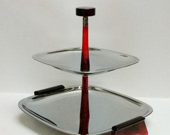 Glo-Hill Chrome and Bakelite 2 Tiered Serving Tray