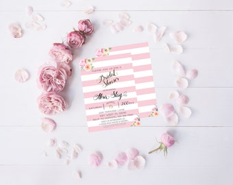 Pink Stripe Floral Bridal Shower Invitation