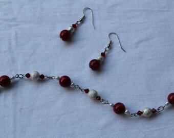 Earring and Bracelet Set, Red Coral, Swarovski Crystals, & Silver Set