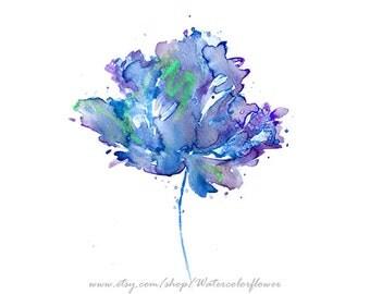 Blue Flower Art Print Flower Wall Decor, Watercolor Blue Flower Art - 47