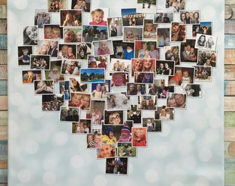 Personalised Heart Photo Collage FRAMED Canvas Print
