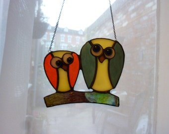 Stained Glass Owls suncatcher