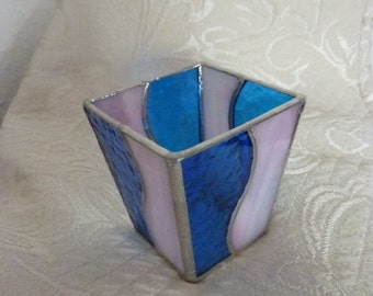 Stained glass box,Stained glass candle holder.
