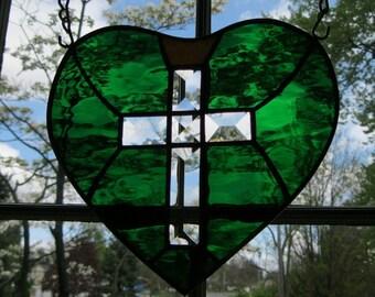 "HEALING Royal Emerald Green Heart, Beveled Cross w/Golden Crown, Stained Glass Suncatcher, 9""x9"" Hanging Hdw. Incl., U.S. ARTIST / MADE 2016"