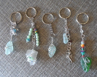 Keyrings - various Seaglass wrapped/beaded/charms