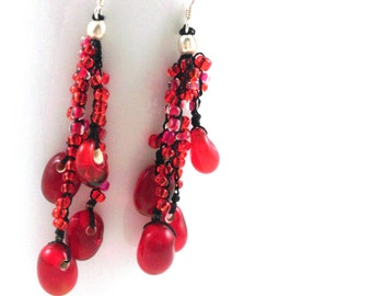 Ruby Red Glass Bead Cluster Earrings
