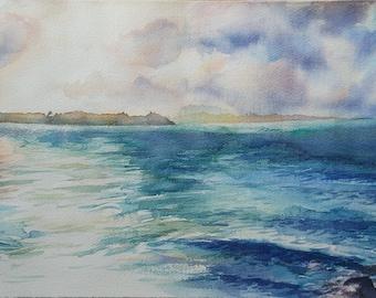ORIGINAL WATERCOLOR on Arches paper, marine landscape, 57cm X 32cm, figurative art painting