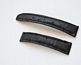 Baume et Mercier  Black Leather Watch Strap Ostrich- custom made. Panerai Watch Strap Omega Watch Strap Seiko Watch Strap Tissot Watch Strap
