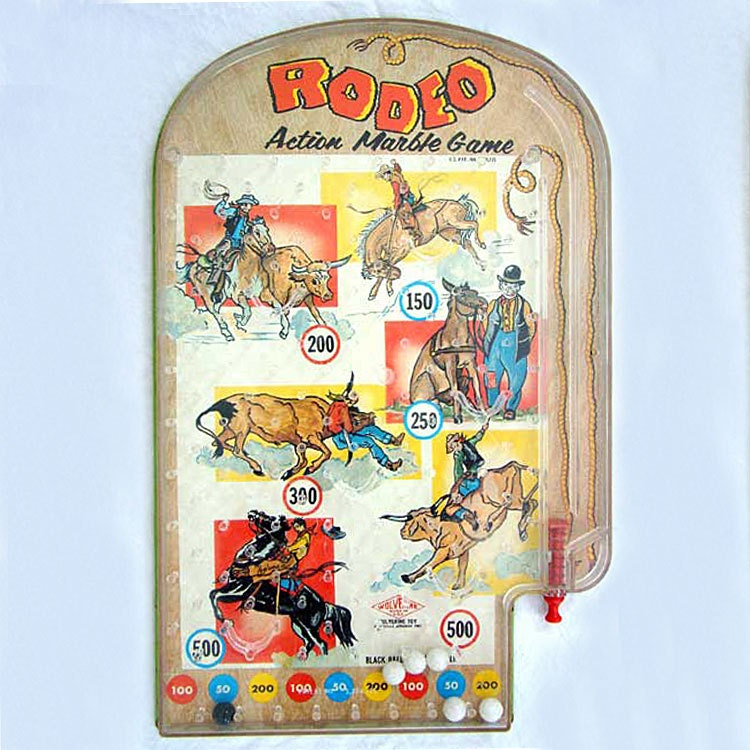 Vintage Table Top Pinball Rodeo Cowboy By Vintagenetcetera