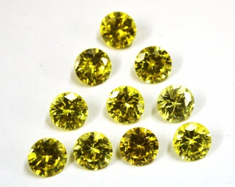Wholesale lot of 25 pcs. ! Cubic Zirconia Brilliant Round cut green olive cz  loose gemstone For jewellery with free shipping