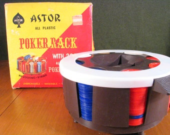 Vintage Astor Poker Chips and Chip Caddy, NIB!