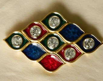 Monet multi-colored enameled brooch