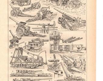 "Vintage ""sepia"" artillery illustration""1930's French dictionary / Digital download"