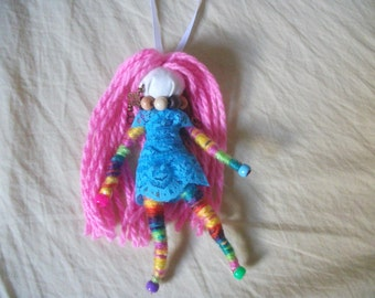 wish granted doll, hanging doll, yarn doll, positive energy OOAK handmade doll