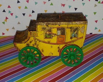Vintage 1950s Tin Toy Western Stage Coach Bank