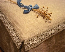 Linen Box Pleated Bedskirt With Ties and natural lace. Natural Flax Bed Sheet with ties and lace. Full/Double, Queen and King sizes