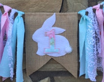 Easter highchair banner, Easter birthday theme, Bunny highchair banner, Easter themed first, Easter photo prop, Easter first birthday,