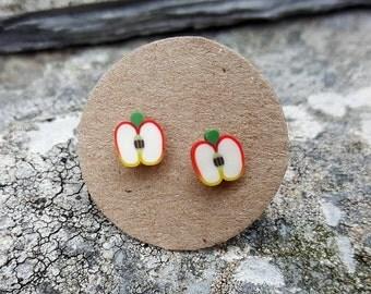 Apple fruit ear studs,  sterling silver, fruit post earrings, fruit stud earrings, tiny, kawaii, fun