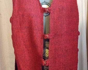 Vintage Groovy 1970s Red Black Checkered Open Side Vest Seamstress Made