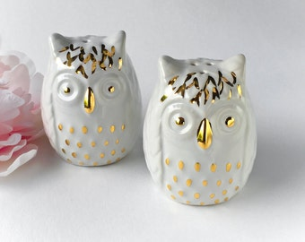 Owl Salt and Pepper Shakers, White and Gold Salt and Pepper Shakers - Hostess Gift, Wedding Decor, Mother's Day Gift