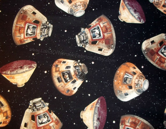 Nasa space capsules on cotton fabric fom quilting treasures for Space cotton fabric