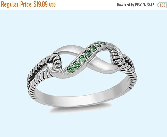 emerald cz infinity sterling silver ring silver by nilujewelry