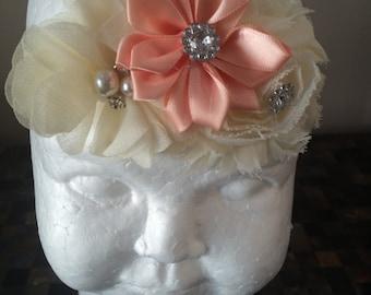 coral and cream headband