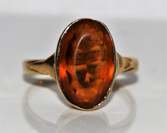 Edwardian 9K 9ct Yellow gold large CITRINE Solitaire ring size M ~ US 6 1/4