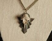 Raccoon Vertebrae on Egyptian Style Metal Back Necklace Witch Oddity Bohemian Jewelry