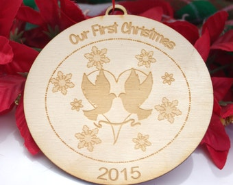 Our First Christmas, Personalized Wooden Engraved Ornament