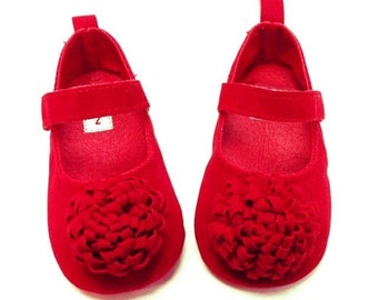 Red Baby Shoes -Valentine's Day baby shoes - Girl shoes, Toddler shoes,  Mary Jane baby shoes, Canvas shoes,   Baby Shoes